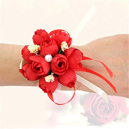 Pulsera de boda para dama de honor con diseño de rosas de seda y flores para novia, decoración de boda, vestido de dama de honor (color: 1)