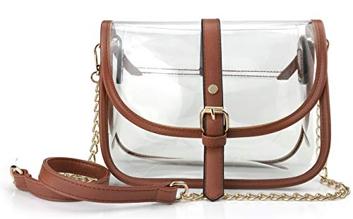 Clear Saddle Cross Body Bag Women Chain Shoulder Handbag Purse (Brown)