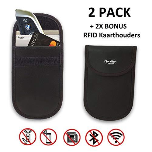 Anti-Diefstal Hoesje Autosleutel (2 PACK) + 2x RFID kaarthouders - Auto Sleutel Etui - Signaal Blokkerende Beschermhoes - Keyless Entry Go Sleutel Beveiliging - Zwart - Qwality4u