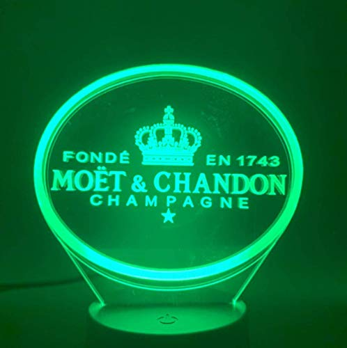 Moet Et Chandon champagne 3D LED nachtlampje lamp binnen bar decoratie wijzigen Touch Sensor Led-lamp 3D