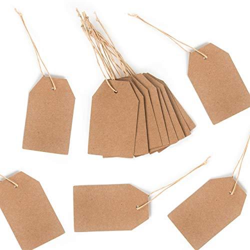 24 kleine Papieranhänger natur Kraftpapier-Etikett Geschenk-Anhänger braun Namensschild Tischkarte 9 x 5,5 cm Hänge-Etikett Preisschild Anhängsel Geschenkanhänger 1 bis 24 Adventskalender basteln
