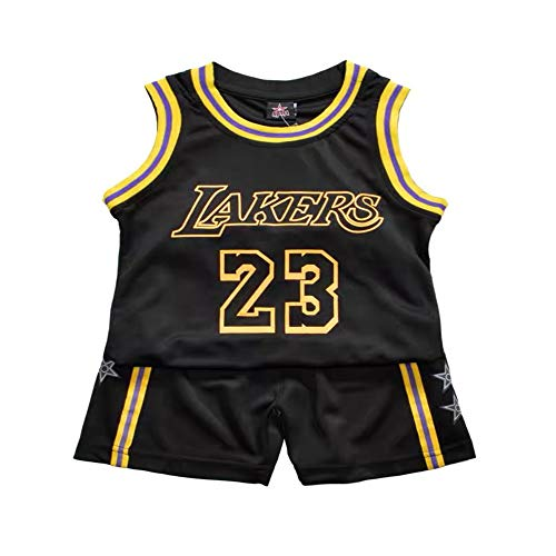 HUAXUN James #23 Lakers Jersey, Trajes de Ropa Deportiva para ni?os, Uniformes de Entrenamiento, Uniformes de Baloncesto de Deporte (Negro, S)