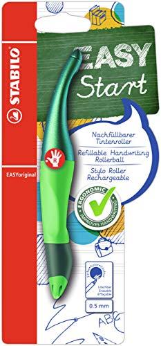 Ergonomischer Tintenroller für Rechtshänder - STABILO EASYoriginal Holograph Edition in grün - Einzelstift - Schreibfarbe blau (löschbar) - inklusive Patrone