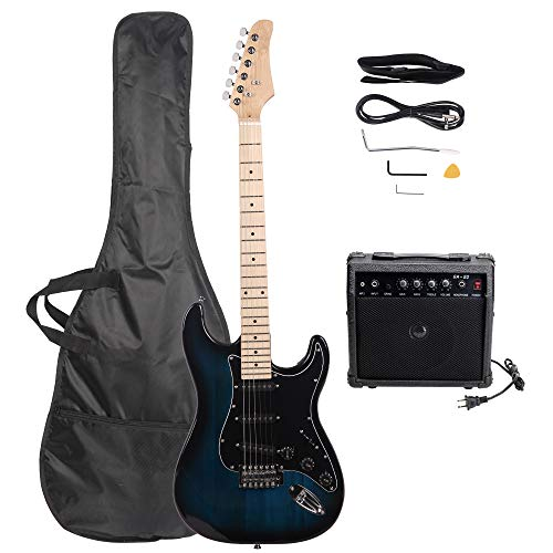 GLARRY Full Size Electric Guitar for Beginner with Amp and Accessories Pack Guitar Bag (Dark blue)