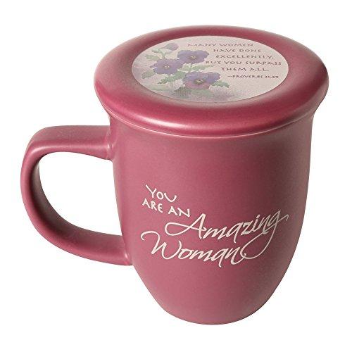 Amazing Woman Mug And Coaster/Lid - Ceramic - Large 14 Ounce Coffee Or Tea Cup - Dusky Purple