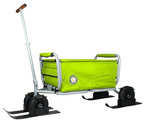 Beachtrekker Life mit Schneekufen - Schlitten, Farbe grün Faltbarer Bollerwagen der Spitzenklasse