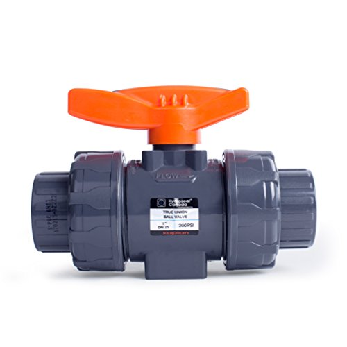 HYDROSEAL Kaplan 1'' PVC True Union Ball Valve with Full Port, ASTM F1970, EPDM O-Rings and Reversible PTFE Seats, Rated at 200 PSI @73F, Gray, 1 inch Socket (1 inch)