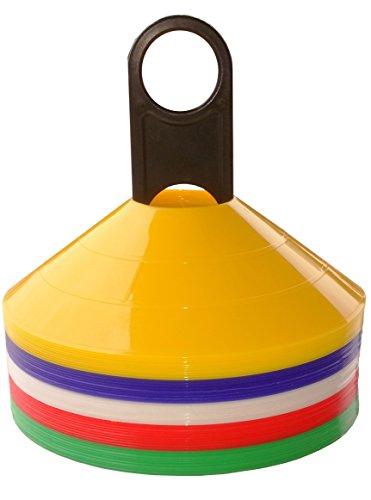 Boje Sport 50er Set Markierungshütchen (10 Stück je Farbe: gelb, blau, weiß, rot, grün) - Markierhütchen, Markierhauben, Markierteller