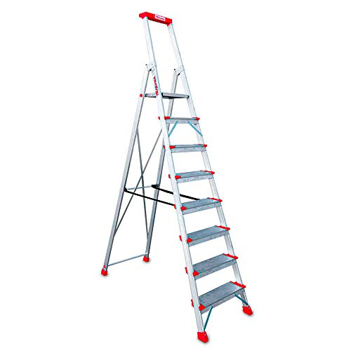 Faraone - Escalera de Aluminio EN948 - 8 peldaños - Escalera de Tijera Profesional - 258x56x15 cm - con Bandeja Portaobjetos y Barandilla - Peso soportado de hasta 150 kg