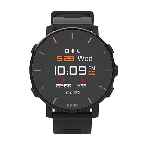 FENGJJ Inteligente Reloj Digital Deportivo, Resistente al Agua, con Monitor de Ritmo cardíaco, GPS, rastreador de Ejercicios Color de la Pantalla, (Negro)
