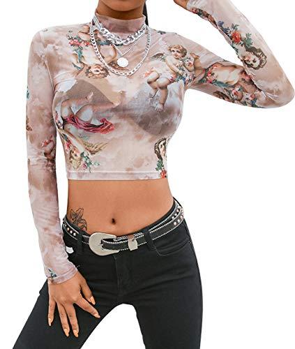 MIZOK Women's Long Sleeve Mesh Crop Top Mock Neck Angel Print Shirts (S,Angel-Nude)