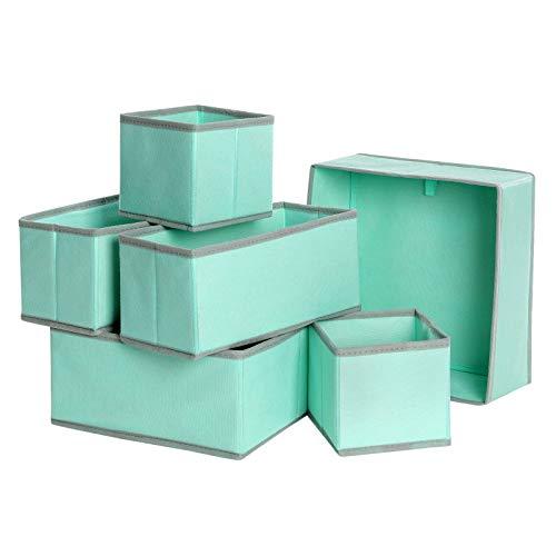 SONGMICS Aufbewahrungsboxen für Unterwäsche, Schubladen-Organizer, 6er Set, Aufbewahrungskörbe, Faltbare Stoffboxen für Socken, Unterwäsche, BHS, Krawatten und Schals, grün RDZ06GN