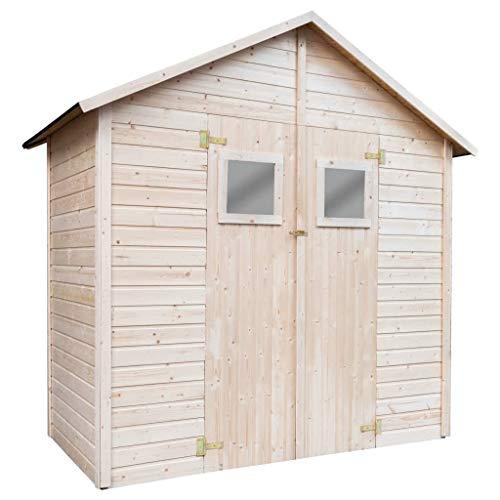 vidaXL Holz Gartenhaus mit 2 Fenstern Filzdachabdeckung Abschließbare Türen Gerätehaus Blockhaus Schuppen Holzhaus Geräteschuppen 226x124x218cm