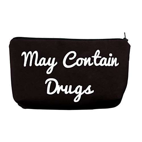May Contain Drugs Makeup Bag Zipper Pencil Pouch Makeup Essentials Bag (Contain Drugs)