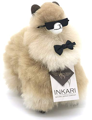 Alpaka Stofftier, super Flauschiges Kuscheltier aus echter Alpaka-Wolle, handgefertigte Unikate, fair und nachhaltig produziert, großes Plüschtier, hypoallergen (S (23cm), Sandstone)