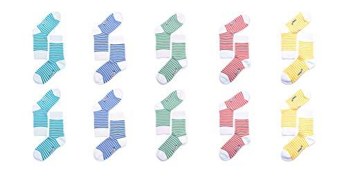 FOOTNOTE Gestreifte Socken, 10 Paar, Damen, bunt-weiß gestreift, Ringelsocken, Größe: 39-42