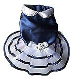 SeniorMar-UK Vestidos para Perros Perros disfrazados Ropa para Perros Adorno Arco Flores Vestido para Perros Disfraces Princesa Falda Elegante Suministros para Mascotas Azul Marino S