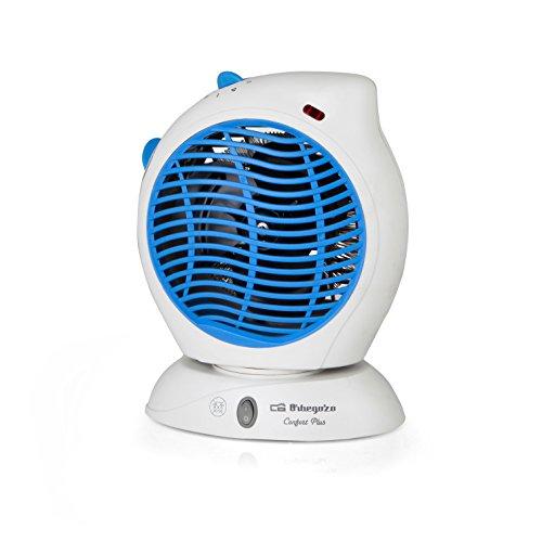 Orbegozo FH 5560 - Calefactor eléctrico de aire con movimiento oscilante, 2000 W de potencia, 2 niveles de aire caliente y función ventilador con temperatura ambiente, azul