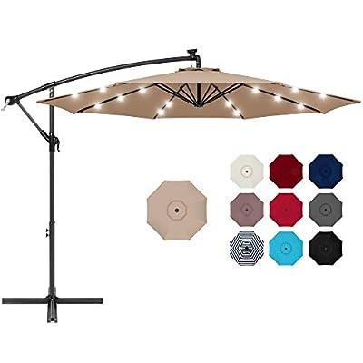 Best Choice Products 10ft Solar LED Offset Hanging Outdoor Market Patio Umbrella w/Easy Tilt Adjustment - Tan