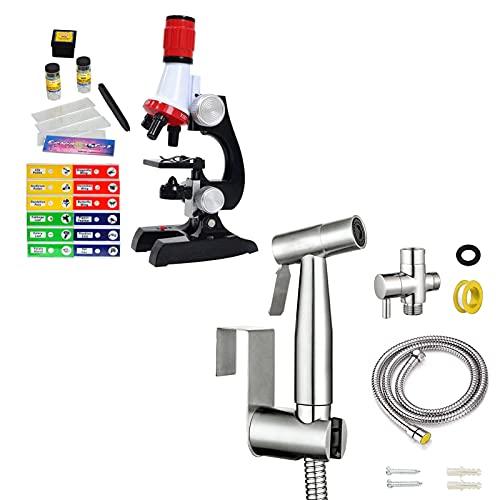Science Kits for Kids Beginner Microscope with Sample Prepared Slides 12pc, Bidet Sprayer Stainless-Steel Spray with Hose for Toilet, Feminine Hygiene, Bathing Pets