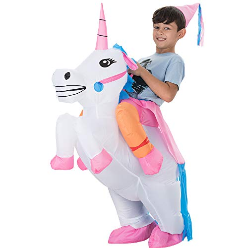 TOLOCO Inflatable Unicorn Rider Costume | Inflatable Costume For Kids | Halloween Costumes | Blow Up Costume (Unicorn)