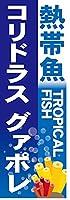 『60cm×180cm(ほつれ防止加工)』お店やイベントに! のぼり のぼり旗 熱帯魚 TROPICAL FISH コリドラスグァポレ(青色)