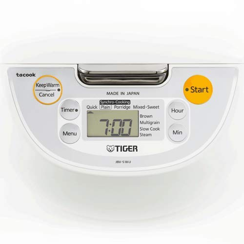 Tiger JBV-S18U Microcomputer Controlled 4 in 1 Rice Cooker, 10 Cups Un-Cooked, White