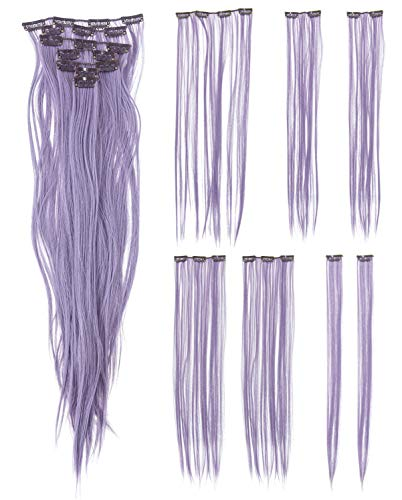SWACC 7 Pcs Full Head Party Highlights Clip on in Hair Extensions Colored Hair Streak Synthetic Hairpieces (22-Inch Straight, Lavender)