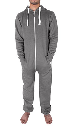 NOROZE Damen Herren Unisex Ebene Jumpsuit Overall Kapuze Pyjamas Körperanzug Strampelanzug Onesie