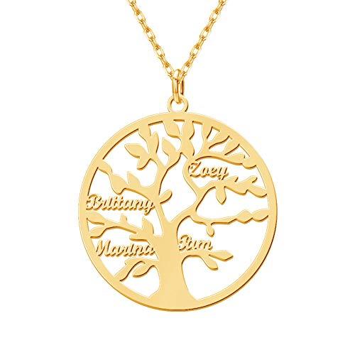 MissChic Namenskette, lebensbaum Kette, Personalisierte Kette, Halskette mit 2-7 Name, Stammbaum Kette für Oma, Herren, Freundin, Mutter, Schwester