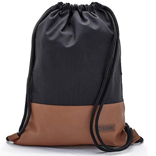 By Bers LEON Turnbeutel mit Innentaschen einfarbiges Design Rucksack Tasche Damen Herren & Teenager Gym Bag Hipster (schwarz_braun)