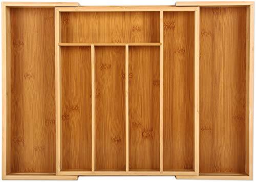 Gräfenstayn® Besteckkasten für Schubladen aus Bambus - ausziehbar - 5 bis 7 Fächer - 34cm x 29 bis 48cm - Schubladen- Einsatz aus Holz auch als Küchen und Besteck Organizer