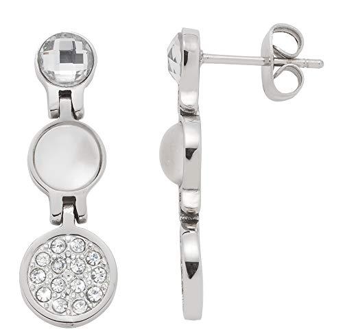 Jewels by Leonardo Damen-Ohrhänger silber mit Kristallen und Perlmutt I Ohrring hängend aus Edelstahl