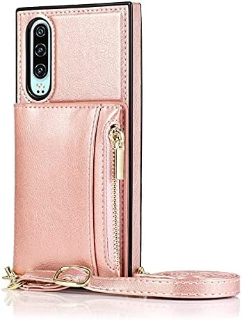 SLDiann Case for Huawei P30, Zipper Wallet Case with Credit Card Holder/Crossbody Long Lanyard, Shockproof Leather TPU Case Cover for Huawei P30 (Color : Rosegold)