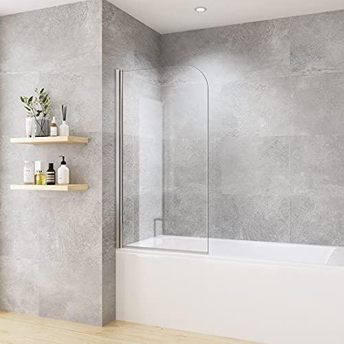Heilmetz Duschabtrennung für Badewanne 90 x 140 cm Duschwand Badewannenaufsatz Duschtrennwand aus 6mm ESG klares Sicherheitsglas mit beidseitiger Nano Beschichtung