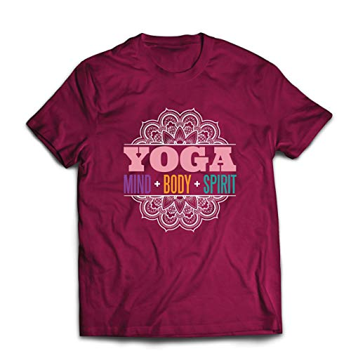 lepni.me Camisetas Hombre Meditación Espiritual Yoga - Mente, Cuerpo, espíritu, Regalo para el yogui (Medium Borgoña Multicolor)