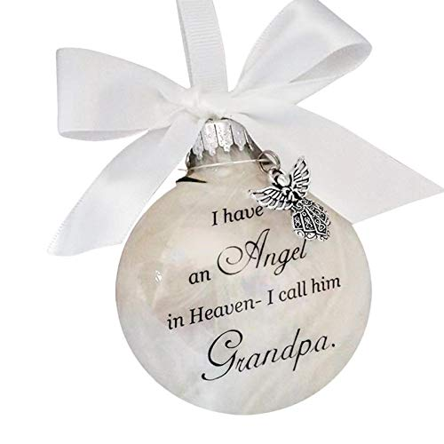 Christmas Ornament - Feather Ball Angel In Memorial Ornament Hanging - I Have An Angel In Heaven,I Call Him Dad -Father Memorial Ornament - He Forever In Our Heart -Sign Commemorative Decor