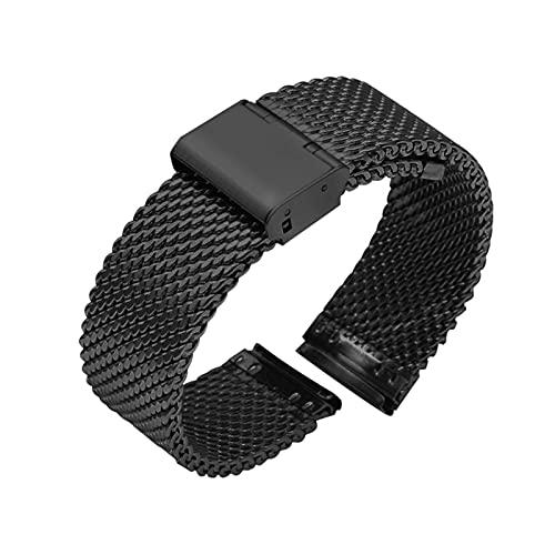 Wtaikui Stor 18 mm 20 mm 22 mm 24 mm Universal Milanese reloj de reloj de reloj de reloj de reloj de reloj de reloj de malla de acero inoxidable de malla pulsera de pulsera de pulsera negra