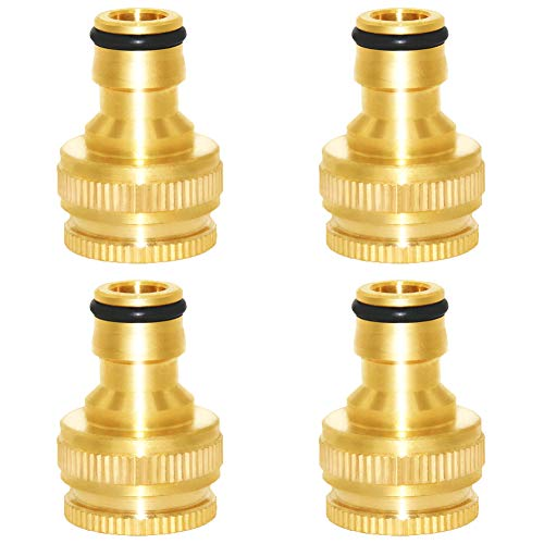 """Joywayus Brass Garden Hose Tap Connector 1/2"""" and 3/4"""" 2-in-1 Female Threaded Faucet Nozzle Quick Connect Adapter Universal Pipe(Pack of 4)"""