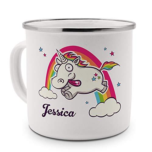 printplanet Emaille-Tasse mit Namen Jessica - Metallbecher mit Design Verrücktes Einhorn - Nostalgie-Becher, Camping-Tasse, Blechtasse, Farbe Silber
