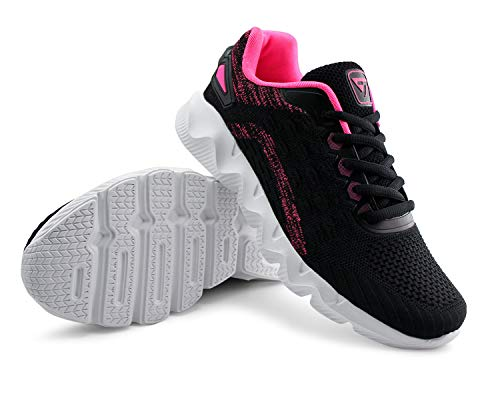 JABASIC Womens Casual Running Tennis Shoes Lightweight Breathable Sneakers (6,Black/Fuchsia)