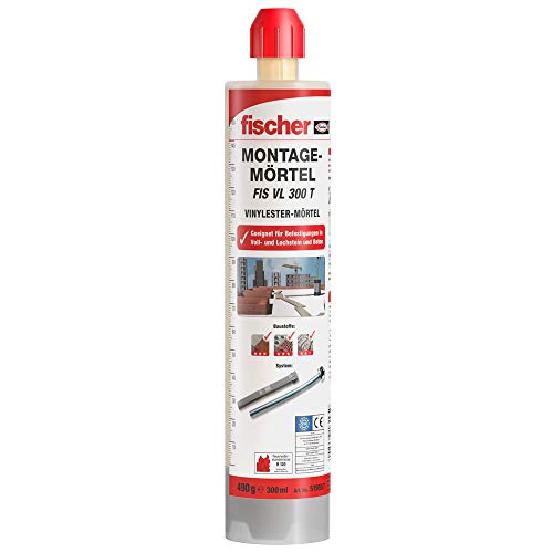 fischer Montagemörtel FIS VL 300 T - Für Standardanwendungen in Voll-/Lochsteinmauerwerk und gerissenem Beton - 1 x Kartusche 300 ml, 2 x Statikmischer FIS MR Plus - Art.-Nr. 519557