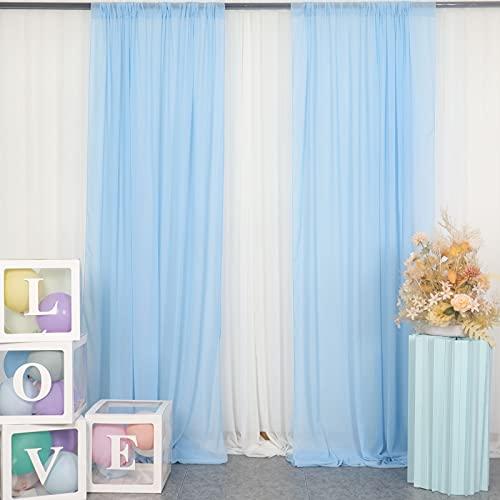 Cortina de gasa para telón de fondo, 1.4 m x 2.8 m, color azul bebé, 2 paneles de tul de 29 x 96 pulgadas, telón de fondo de gasa, telón de fondo de gasa para (29 x 96 pulgadas), color azul