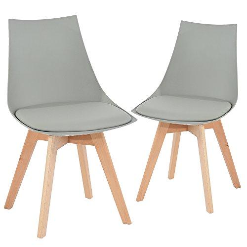 EGGREE 2er Set Holz küchen stühle, Retro gepolsterter Bürostuhl mit Füßen in massivem Buchenholz - Grau