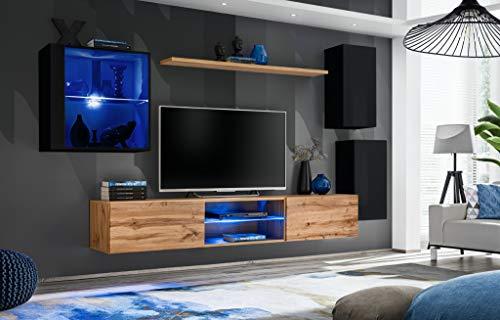 Wohnwand Anbauwand Schrankwand Hochglanz Katja mit Led Beleuchtung Viele Farben Möbel 21 (Wotan+Schwarz)