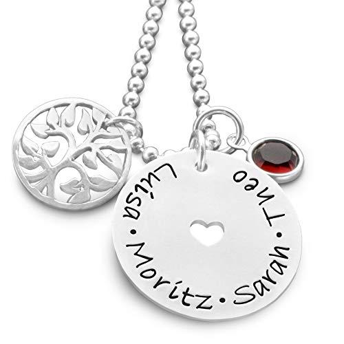 Kette mit Gravur LEBENSBAUM HERZ 925 Sterling Silber Namenskette für Mama personalisiert Kindernamen