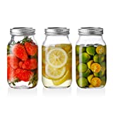 SWEEJAR Glass Mason Jars(24 oz),Ball Regular Mouth with Silver Metal Airtight Lid,Ideal for Meal Prep,Food Storage,Canning,Overnight Oats,Jelly,Dry Food,Salads,Yogurt,Jam,Honey(3 pack)