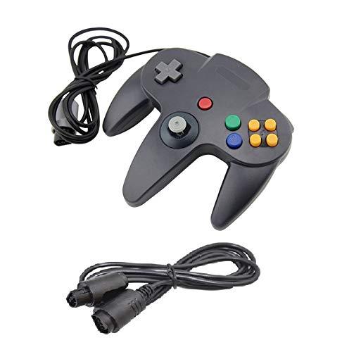 DARLINGTON & Sohns Schwarzer Controller für Nintendo 64 N64 Joystick Schwarz Gamepad Joypad + Verlängerung Extansion Verlängerungskabel Gamepad