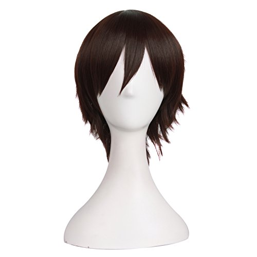 MapofBeauty Men's Short Straight Wig Cosplay Costume Wig (Dark Brown) - http://coolthings.us