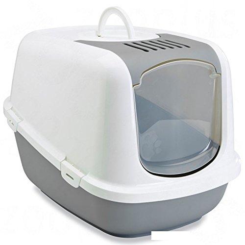 Wangado - Toilette XXL per gatti di razze di taglia molto grande con parte anteriore ribaltabile per una pulizia facile e rapida, con filtro al carbone attivo. Misure: L 66,5 x P 48,5 x H 46,5 cm
